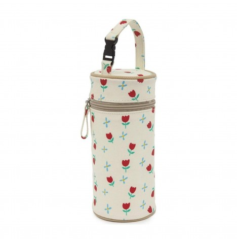 Pink Lining Insulated Bottle Holder - Tulips & Forget Me Nots