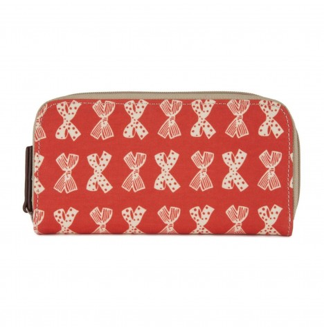 Pink Lining Wallet - Cream Bows on Red