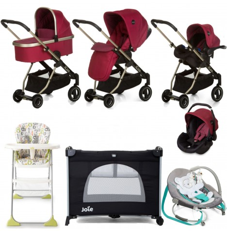Hauck I'coo Acrobat XL Everything You Need Travel System Bundle - Diamond Ruby