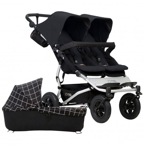 Mountain Buggy Duet V3 Twin Pushchair & Carrycot - Black / Grid