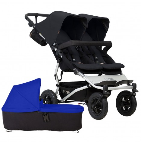 Mountain Buggy Duet V3 Twin Pushchair & Carrycot - Black / Marine