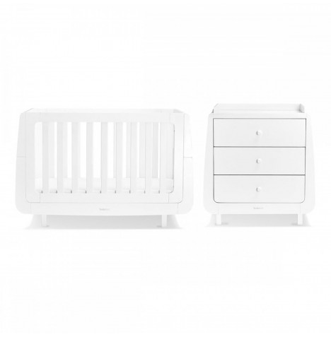 Snuz SnuzKot Mode 4 Piece Cot Bed Nursery Furniture Room Set With Dresser & Free Maxi Air Cool Mattress - White