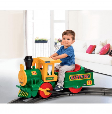 Peg Perego Santa Fe Train 6V Kids Electric Ride On - Green