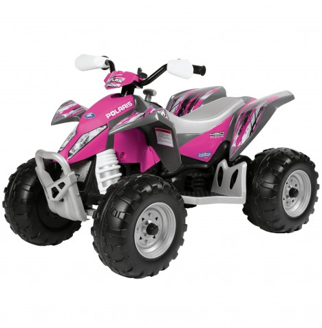 Polaris Outlaw 12V Kids Electric Ride On Quad Bike by Peg Perego - Pink Power