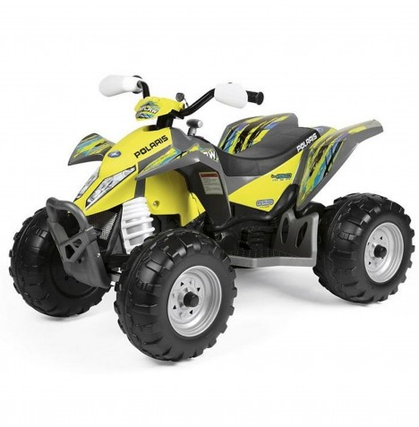 Polaris Outlaw 12V Kids Electric Ride On Quad Bike by Peg Perego - Citrus Yellow