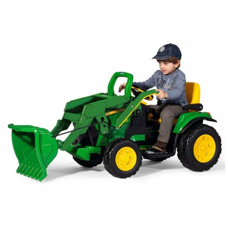 John Deere Ground Loader 12V Kids Electric Ride On Digger By Peg Perego - Green