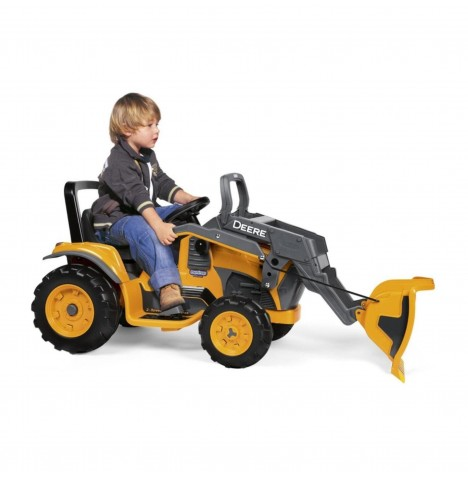 John Deere Construction Loader 12V Kids Electric Ride On Digger by Peg Perego - Yellow