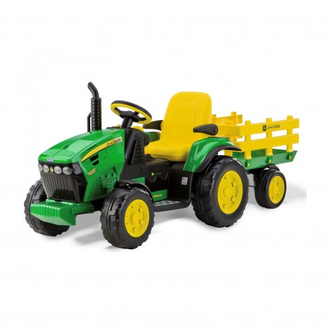 John Deere Ground Force 12V Kids Electric Ride On Tractor With Trailer By Peg Perego - Green