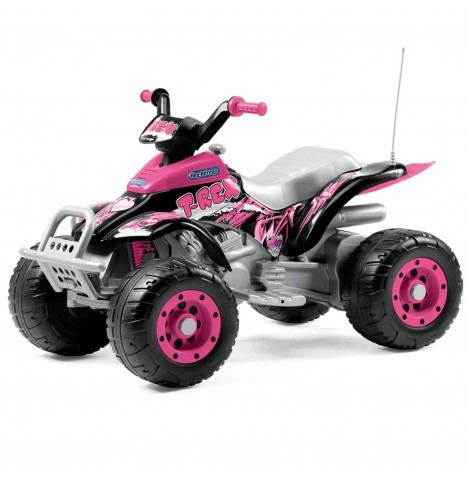 Peg Perego Corral T-Rex 12V Kids Electric Ride On Quad Bike - Pink
