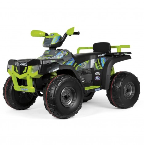 Polaris Sportsman 850 24V Kids Electric Ride On Quad Bike By Peg Perego - Lime