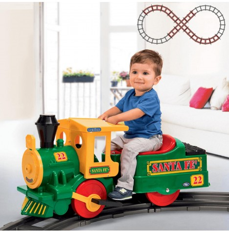 Peg Perego Santa Fe Train 6V Kids Electric Ride On & Figure Of 8 Track Bundle - Green