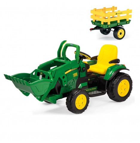 John Deere Ground Loader 12V Kids Electric Ride On Digger & Stake-Side Trailer Bundle By Peg Perego - Green & Yellow