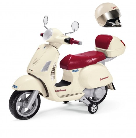 Vespa 12V Kids Electric Ride On Bike & Helmet Bundle By Peg Perego - Cream