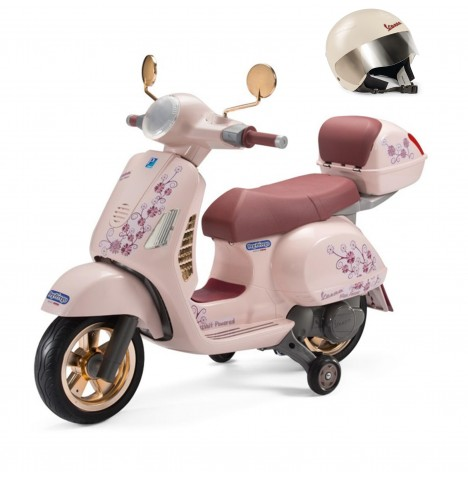 Vespa 12V Kids Electric Ride On Bike & Helmet Bundle By Peg Perego - (Rose Gold) Mon Amour