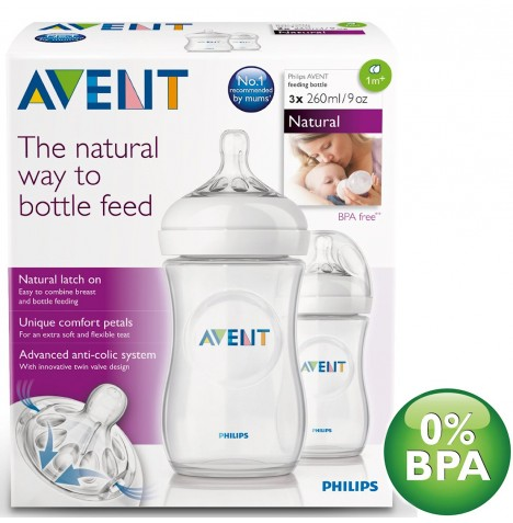 Philips Avent Natural 9oz / 260ml Feeding Bottle (Pack of 3)
