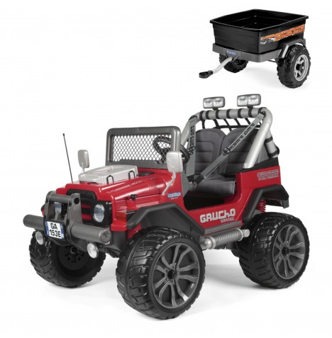 Peg Perego Gaucho Grande 12V 2 Seater Kids Electric Ride On Jeep & Adventure Trailer Bundle - Red & Black