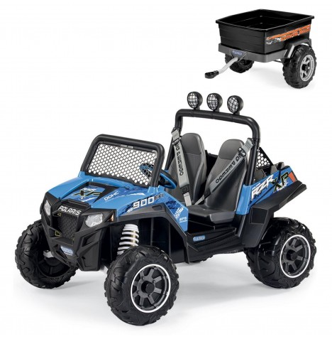 Polaris Ranger RZR 900 12V Kids Electric Ride On Buggy & Adventure Trailer Bundle by Peg Perego - Blue