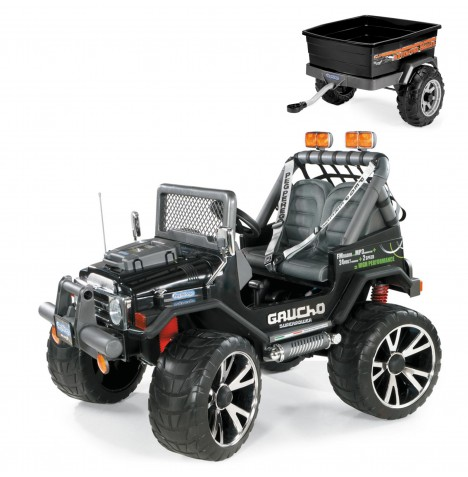 Peg Perego Gaucho Superpower 24V Kids Electric Ride On Jeep & Adventure Trailer Bundle - Black