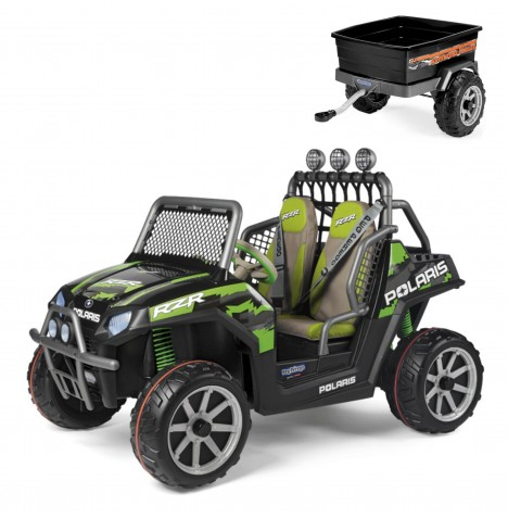 Polaris Ranger RZR 24V Kids Electric Ride On Buggy & Adventure Trailer by Peg Perego - Green Shadow