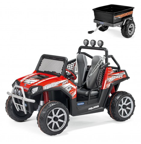 Polaris Ranger RZR 24V Kids Electric Ride On Buggy & Adventure Trailer Bundle by Peg Perego - Red & Black