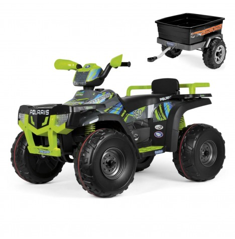 Polaris Sportsman 850 24V Kids Electric Ride On Quad Bike & Adventure Trailer Bundle By Peg Perego - Lime & Black