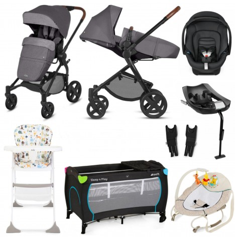 Cybex CBX Kody Cozy Lux Everything You Need Travel System Bundle With Base - Comfy Grey