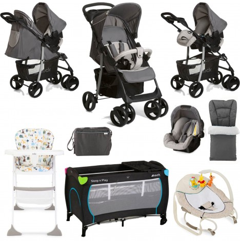 Hauck / Joie Shopper SLX Everything You Need Shop n Drive Travel System Bundle - Stone / Grey