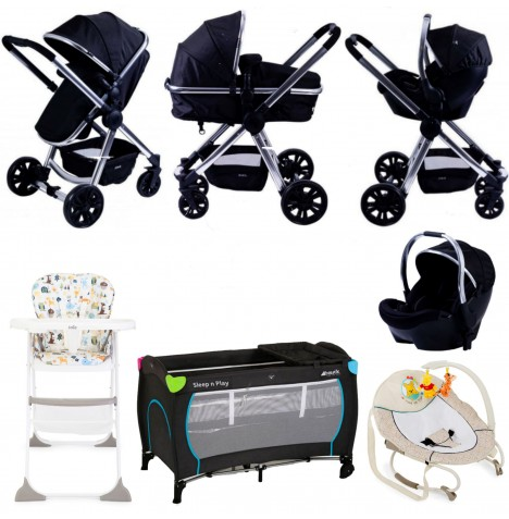 Red Kite / Joie Push Me Fusion Everything You Need Travel System Bundle - Black Onyx