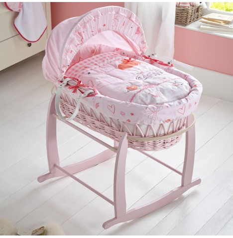 Clair De Lune Padded Pink Wicker Moses Basket with Deluxe Baby Rocking Stand - Tippy Toes Pink