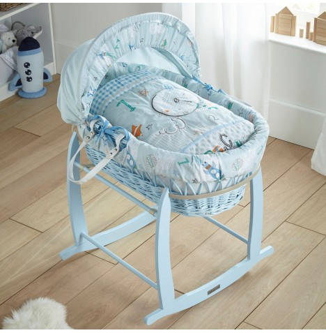 Clair De Lune Padded Blue Wicker Moses Basket with Deluxe Baby Rocking Stand - Forty Winks Blue