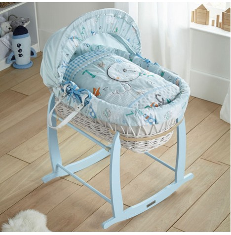 Clair De Lune Padded White Wicker Moses Basket with Deluxe Baby Rocking Stand - Forty Winks Blue
