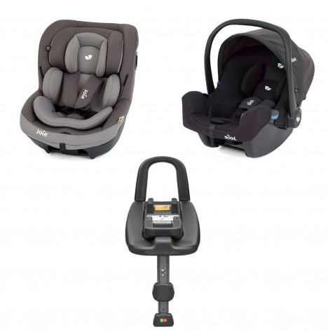 Joie i-Snug Group 0+ and i-Venture Group 1 Car Seat with i-Base Bundle - Dark Pewter / Coal