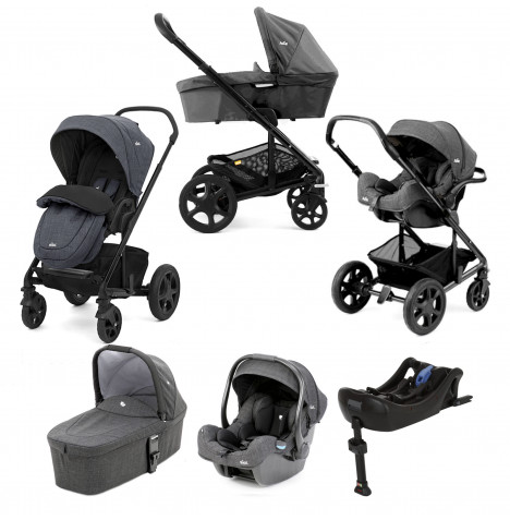 Joie Chrome DLX (i-Gemm) Travel System + Carrycot + Base (inc Footmuff) - Pavement
