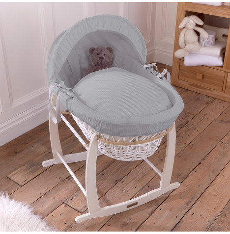 Clair De Lune Padded White Wicker Moses Basket & Rocking Stand - Waffle Grey