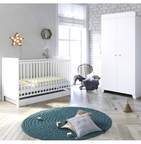 Little Acorns Classic Milano Cot Bed 3 Piece Nursery Furniture Set with Drawer - White