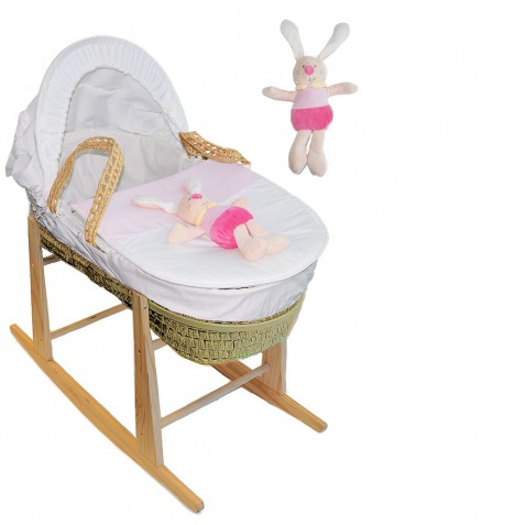 4Baby Bunny Palm Woven Moses Basket & Pine Stand - Pink