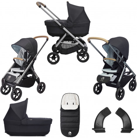 Easywalker Mosey+ 2in1 Pushchair & Carrycot Bundle with Accessories - Charcoal