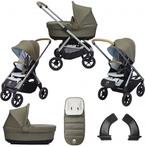 Easywalker Mosey+ 2in1 Pushchair & Carrycot Bundle with Accessories - Moss Green