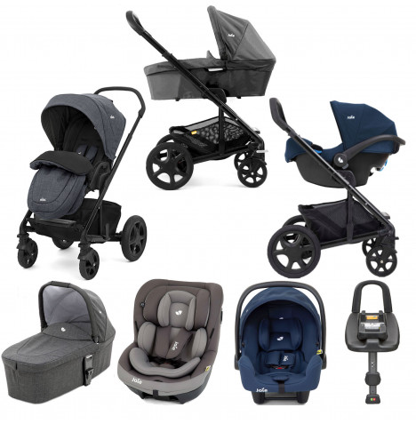 Joie Chrome DLX (i-Venture & i-Snug) Travel System with Carrycot & Isofix Base Bundle - Pavement