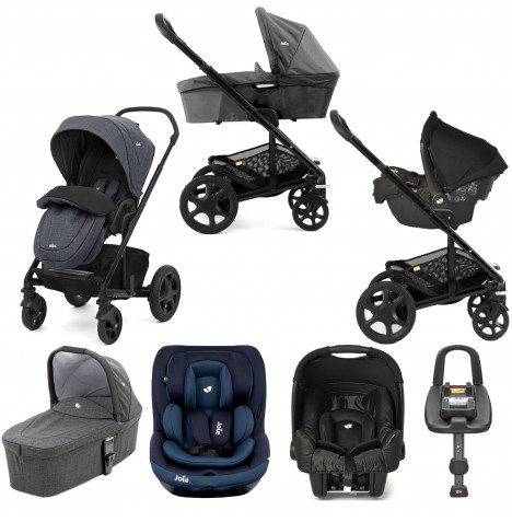 Joie Chrome DLX (i-Venture & Gemm) Travel System with Carrycot & Isofix Base Bundle - Pavement