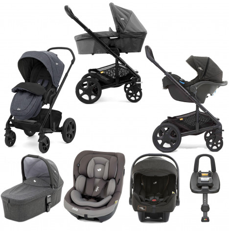Joie Chrome DLX (i-Venture & i-Gemm) Travel System with Carrycot & Isofix Base Bundle - Pavement