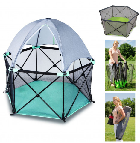 Summer Infant 2 in 1 Pop n Play Portable Playpen with Soft Canopy Accessory Pack