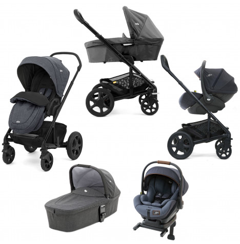 Joie Mothercare Chrome DLX (i-Level) Travel System With Carrycot (inc Footmuff & ISOFIX Base) - Pavement