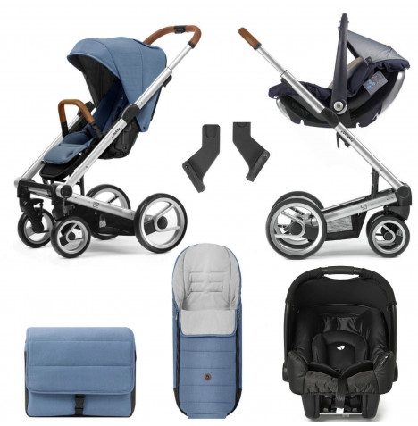 Mutsy I2 Heritage (Silver Chassis) Gemm Travel System With Accessories - Heritage Blue