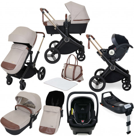 ickle bubba Aston Rose (Mercury) 10 piece Travel System Bundle with ISOFIX Base - Stone