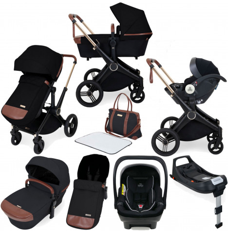 Ickle Bubba Aston Rose (Mercury) 10 Piece Travel System Bundle with ISOFIX Base - Black