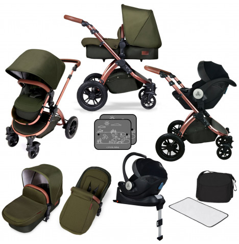 Ickle bubba SE Stomp V4 All In One (Mercury) i-Size Travel System & Isofix Base - Woodland