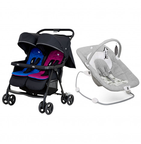 Joie Aire Twin Stroller + Wish Bouncer Bundle - Rosy & Sea