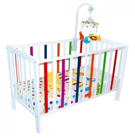 4baby White Multicoloured Solid Wood Vivid Baby Cot