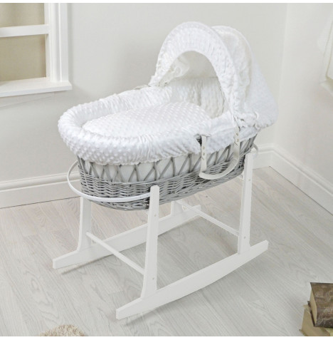 4Baby Padded Grey Wicker Moses Basket & Rocking Stand - White Dimple